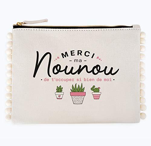 Bolsa de pompón – Gracias por mi nounou de t'ocuper tan bien de mí | Manahia | Bolsa de algodón con borlas | Regalo Nounou