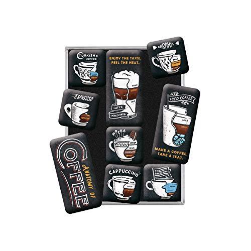 Nostalgic-Art Juego de Imanes Retro , Anatomy of Coffee – Idea de Regalo para Amantes del café, Decoración para la Nevera, Diseño Vintage, 9 Unidades