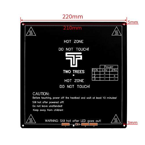 ARCELI Aluminium MK3 12V-Wärmebettplattform 220x220x3mm PCB-Heizplatte mit Kabelanschluss für Reprap 3D-Drucker