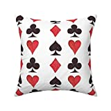 Roostery Throw Pillow, Playing Cards Red and Black Suits Ace of Spades Card Games Game Aces Jack Poker Print, Linen-Cotton Canvas, Knife Edge Accent Pillow 18in x 18in Optional Insert