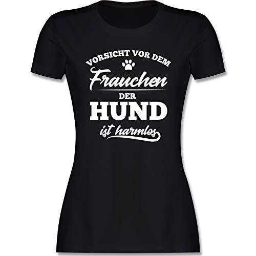 Hunde - Vorsicht vor dem Frauchen der Hund ist harmlos - L - Schwarz - Tshirt das Frauchen ist harmlos - L191 - Tailliertes Tshirt für Damen und Frauen T-Shirt