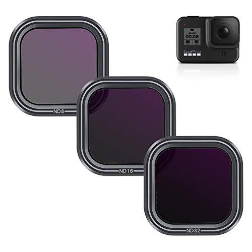 AuyKoo 3 Stück Objektivfilter ND8 ND16 ND32 für GoPro Hero 8, Neutral Density Filter Lens Protector Kit für GoPro Hero 8 Black Zubehör