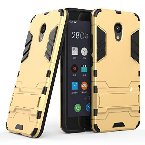 tinyue® Handyhülle für Meizu M5C, Hülle 2 in 1 Material Harte Schwer doppelte kratzfester Handyfall im Freienhandyfall Iron Man Rüstung mit Kickstand Hülle, Gold