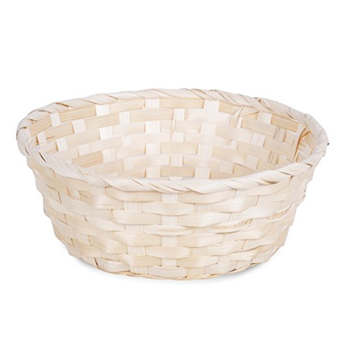 10 x Bamboo Wicker Bread Basket Storage Hamper Display Tray, Natural or Red (Large 25cm, Natural)
