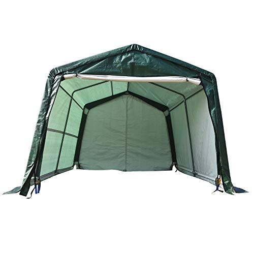 walsport Portable Carport Tent Auto Shelter 10x10x8ft Outdoor Sheds Car Garage Storage Shed Canopy Heavy Duty Green Peak Style with Waterproof Cover Rollup Door