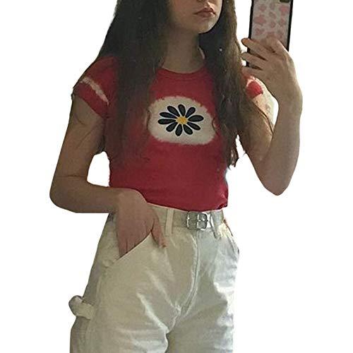 Camiseta de manga corta para mujer Y2k con cuello redondo, estilo gótico Harajuku de manga corta e informal Kawaii con estampado gráfico de calle.