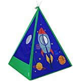 GigaTent Teepee Tent for Kids - Easy Setup Boy's Blue Space Playhouse for Indoor and Outdoor Play - Durable Polyester with Mesh Windows for Great Ventilation - Easy Storage, Includes Carrying Bag