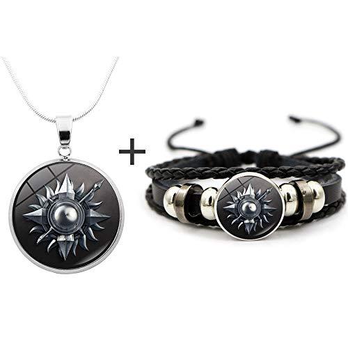 Juego de tronos negros de sol y luna, collar con colgante de cadena vintage punk rock pulseras de cuero collares joyería para hombres y mujeres regalo
