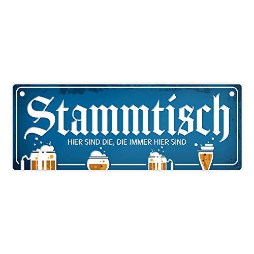 trendaffe - Stammtisch Metallschild mit Straßenschild-Optik und Bier Motiv Schild Stammgast