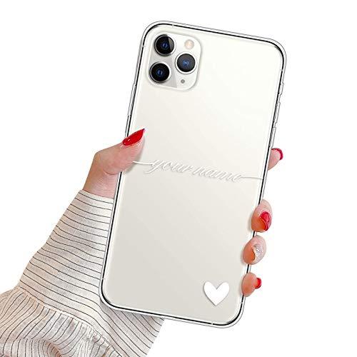 Suhctup Personalizzata Cover per Xiaomi Redmi 6 PRO/Mi A2 Lite Custodia in TPU con Cuore Testo Personalizzabili Regalo Case Ultra Sottile Morbido Clear Silicone Modo Antiurto Caso(Bianca)