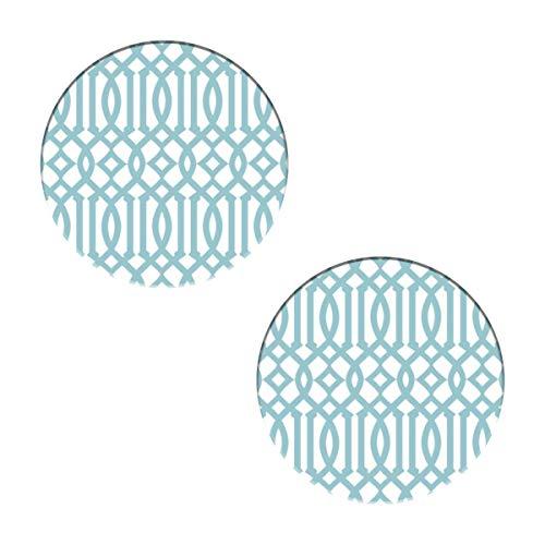 Posavasos de enrejado imperial de color blanco y azul cielo, redondos, con piedra de cerámica y base de corcho para tipos de tazas y tazas, oficina, cocina (juego de 2)