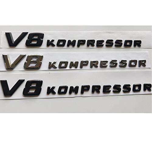 SBCX Für Mercedes Benz AMG V8KOMPRESSOR, Chrom/Mattschwarz/Glanzschwarz V8 Kompressor Buchstaben Abzeichen Emblem Embleme Aufkleber Aufkleber