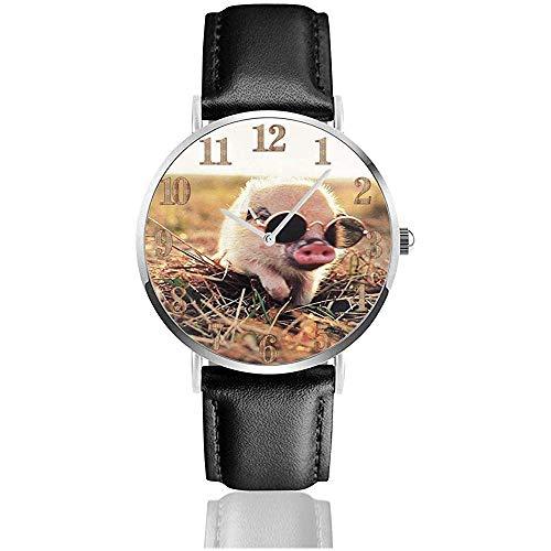 Nettes Haustier Schwein mit Sonnenbrille Clo Lederuhr Unisex Mode Armbanduhren Quarzuhr tragen Uhren