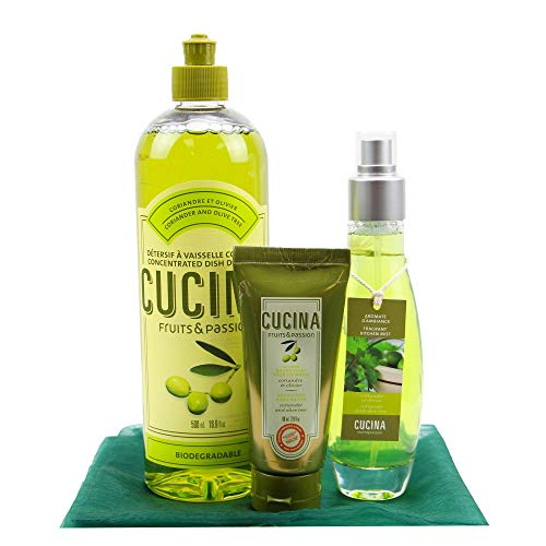 Fruits and Passion Kitchen Basics Bundle Dish soap Room Spray and Hand Butter Deluxe Set (Coriander and Olive Tree)
