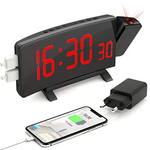 """PEMOTech Projektionswecker Digital Wecker mit Projektion Digital Netzteil USB-Anschluss, 5 einstellbare Helligkeiten 7"""" Großes LED-Anzeige 180 ° Projektion, Snooze Funktion, Dual-Alarm"""