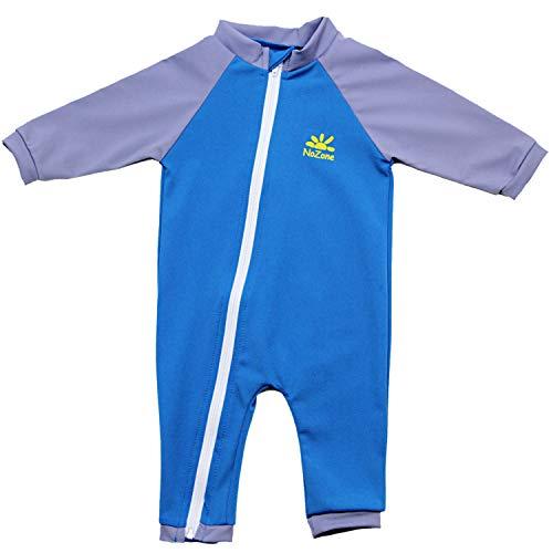 Nozone Tahiti Full Zip Sun Protective Baby Swimsuit in Smurf/Titanium, 0-6 Months