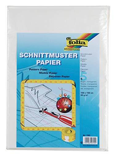 Schnittmusterpapier - 100 x 150 cm, 5 Bogen, transparent
