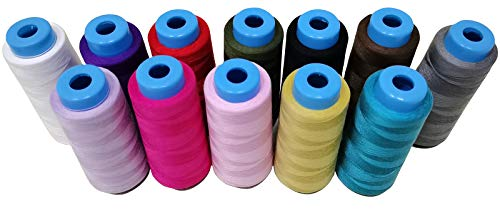Set of 12 x 1850 Yards - Sewing Thread 100% Polyester Spools Overlock Cone for Serger Machine Quilting Serger