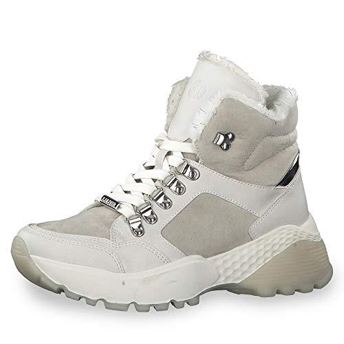 s.Oliver Damen Stiefel 25212-23, Frauen Schnürstiefel, Freizeit Boots kurz-Stiefel high top Sneaker Sportschuhe schnürung,LT Grey,41 EU / 7.5 UK