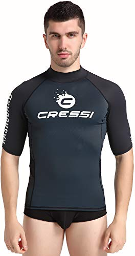 Cressi Unisex– Erwachsene Hydro Men'S Premium S.Sleeves Rash Guard Kurze Ärmel aus elastischem Stoff Mann UV-Schutz (UPF) 50+, Schwarz/Schwarz, M