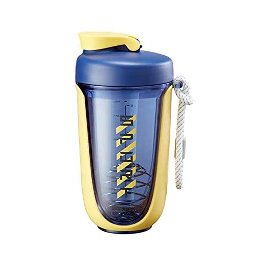 ZPEE Botella de Agua, Vaso de Plástico, Vaso Agitador, Taza de Batido de Proteína en Polvo, Copa Tritan de Deportes y Fitness,Yellow