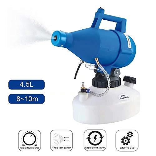 UNiiyi Máquina de Niebla portátil de 4.5L Pulverizador de insecticida de jardín eléctrico ULV Rociador de desinfección antiparasitario Atomizador Rociador de Aerosol para Interiores y Exterior