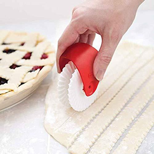 FeiliandaJJ Teigrad Rad Schneiden Rollendes Rad Pizza Schneiden Werkzeug Pizza Gebäck Gitter Cutter Gebäck Pie Dekoration Cutter (Weiß)