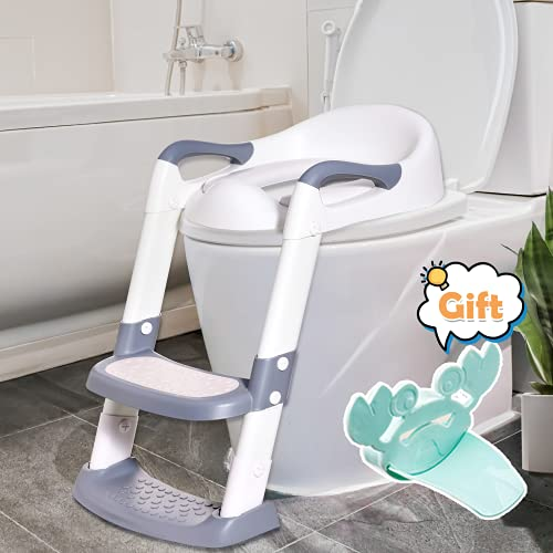 Potty Training Seat with Ladder for Kids, Toddler Toilet with Adjustable Step Stool, Comfortable Safe Potty Chair with Anti-Slip Pads & Handle, Potty Training Kids Toilet Seat for Boys & Girls Grey