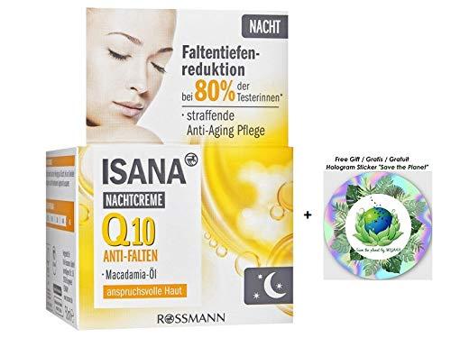 ISANA Anti-Falten Q10 Nachtcreme - straffende Anti-Aging Pflege - mit Macadamia-Öl - 50 mL