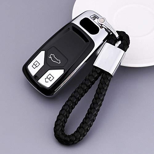 LAMWAN Llaveros de automoción- para Soft TPU Car Key Case Remote Fob Shell Holder Protector Skin para Audi A4L 2019 Q7 2018 A5 Q5L Key Cover Keychain Auto Accessorie, Silver