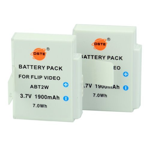 DSTE Replacement for 2X ABT2W Rechargeable Li-ion Battery Compatible Cisco Flip UltraHD 8GB 4GB 2 hr
