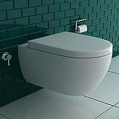 Spoel-randloze opknoping douche -WC met geïntegreerde bidet-Taharet functie + ontwerp Ronde flush-mounted montage aansluiting op koud en warm water + Verwijderbare wc-bril incl. soft-close functie |*