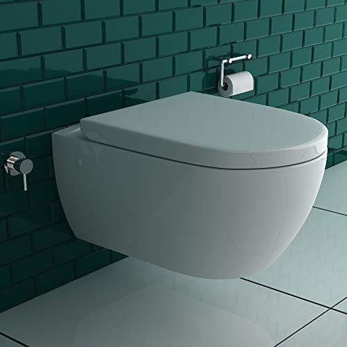 Alpenberger Spülrandloses Hänge-Dusch -WC mit integrierter Bidet-Taharet Funktion + Design Rund Unterputz Armatur Anschluss an Kalt und Warmwasser + Abnehmbarer WC-Sitz inkl. Soft-Close-Funktion |