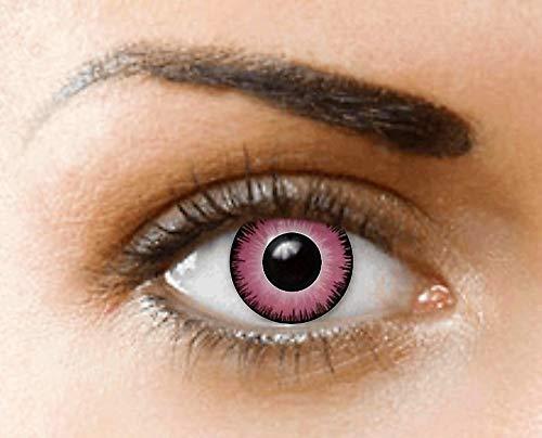 PHANTASY Eyes® Farbige Kontaktlinsen, Ohne Stärke (PINK LUNATIC/EINHORN) Rosa Devil/Zombie, Jahres Linsen, 1 Paar crazy fun Contact linsen + Kontaktlinsenbelälter!