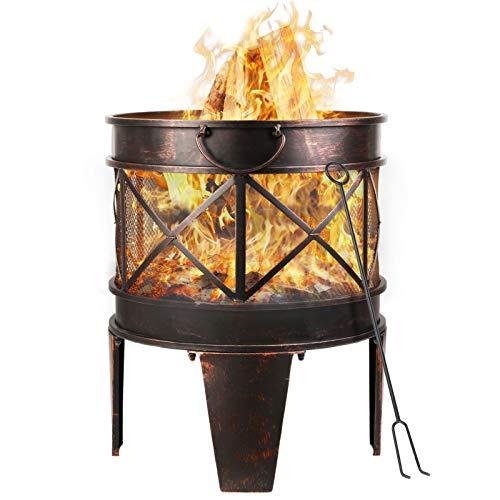 femor feuerschale mit funkenschutz, Feuerkorb mit Funkenschutz & Griffen Feuerschalen für den Garten Feuerstelle mit in Antik-Rost-Optik Garten Multifunktional Fire Pit,58x45x42cm