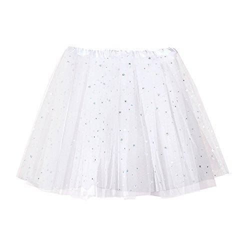IZHH Damen Tüllrock Paillette elastischer 3-lagiger kurzer Rock Tutu Tanzrock für Erwachsene 50er Kurz Ballet Tanzkleid(Weiß,Freie größe)