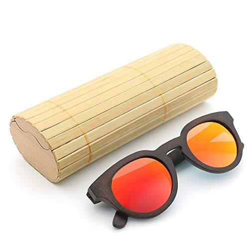 Rg512 GR Lunettes de Soleil enduites polarisées rétro de Cadre en Verre Fait Main en Bois UV400 pour Unisexe (Color : Orange)