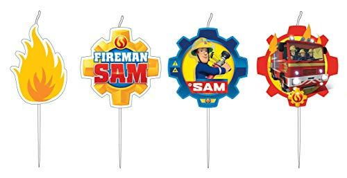 Amscan 9902187 - Mini Figurenkerzen Feuerwehrmann Sam, 4 Stück, Kuchenkerzen