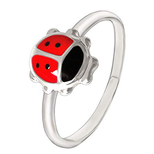 Marienkäfer Mädchen Ring schwarz und rot lackiert glänzend 925 Sterling Silber universell einstellbare Größe für Kinder