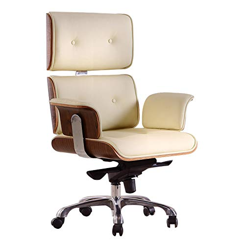 Ergonomic Office Chair, Leather Executive with Upholstered Swivel 440Lbs High Capacity Adjustable Height Armrest Chairs for Home Office (Beige)