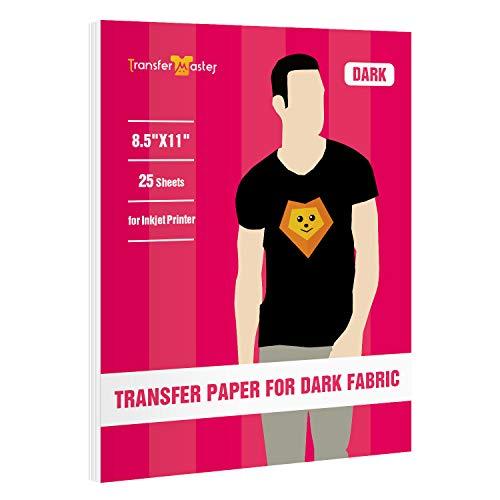 Inkjet Printable Heat Transfer Vinyl Paper, Use on Dark & Light Fabrics, 25...