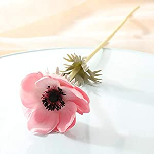 Artificial and Dried Flower 6PCS Artificial Anemones Flowers Real Touch Poppy for Wedding Home Decoration Fake Flower Fall Decorations – ( Color: Pink )