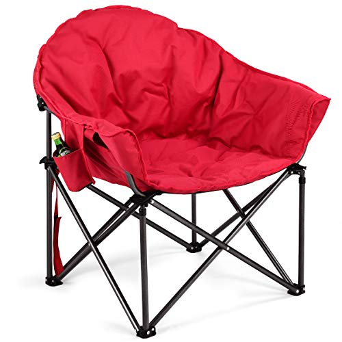 Giantex Folding Camping Chair Moon Saucer Chair Lightweight Sofa Chair Round Beach Chair with Soft...