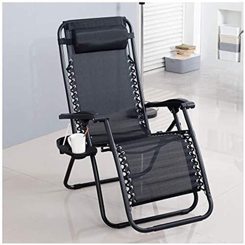 Office Life NAP Chaiselongue Liegestuhl Büro Mittagspause Stuhl Outdoor Freizeitstuhl Strandstuhl Mittagspause Stuhl (ohne Getränkehalter) Schwerelosigkeitsstühle (Farbe: Schwarz)