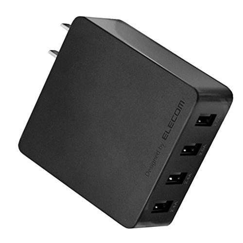 エレコム 充電器 ACアダプター 【iPhone & iPad & Android & IQOS & glo 対応】折畳式プラグ USBポート×4 (4A出力) 長寿命設計 ブラック EC-AC4U001BK