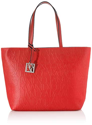 Armani Exchange Liz-Open Medium Shopping Tote, 28 x 11 x 40 cm, color Rojo, talla 28x11x40 cm (B x H x T)