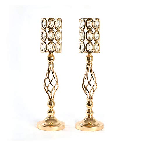 LJJOO Acrylic Imitation Crystal Candle Holder Stand (Set of 2) Gold/Silver Flower Vase Wedding Candlestick Decoration for Parties or Everyday Home Decor Candlestick