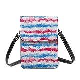 Bolso cruzado pequeño para mujer, color rojo, blanco y azul, con rayas onduladas, para teléfono celular, cartera multiusos, de piel sintética suave