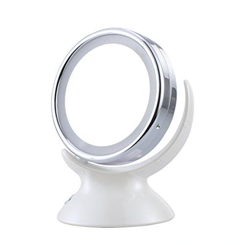 Verlichte make-upspiegel ronde dubbelzijdige tafel-cosmeticaspiegel met 5-voudige vergroting (wit)