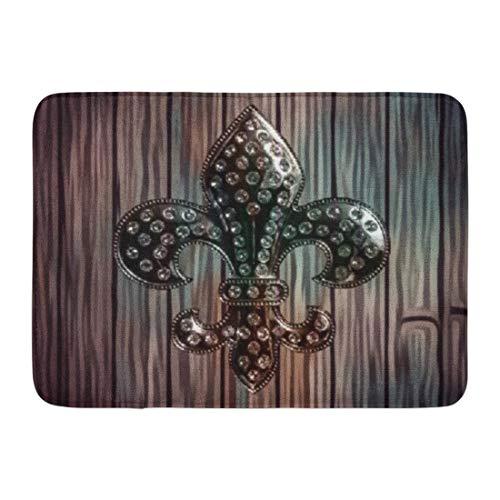 Badematte Brown Diamonds Elegante Holz Fleur De Lis Teal wie Badezimmer Dekor Teppich